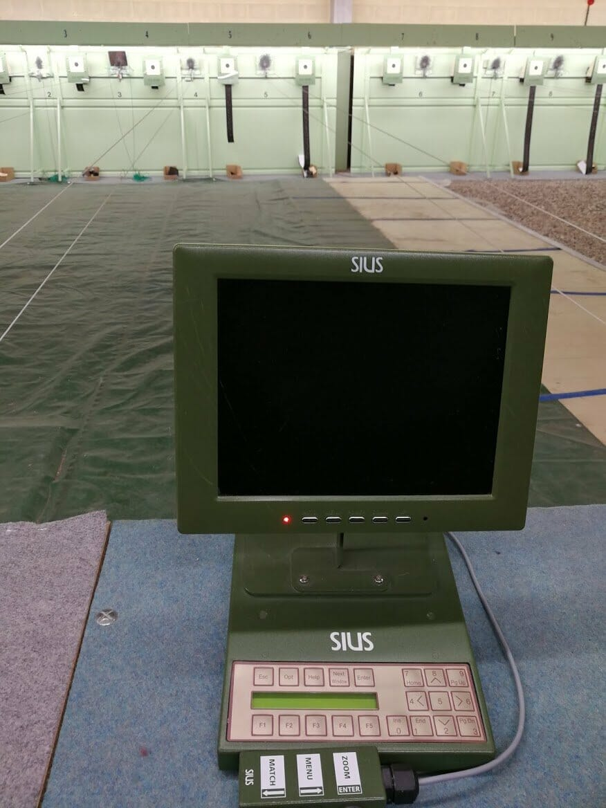 Electronic and traditional paper targets are used for training at Creil's shooting range
